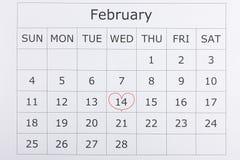Calendario día de fiesta día del ` s de la tarjeta del día de San Valentín del 14 de febrero Fotografía de archivo