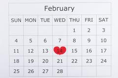 Calendario día de fiesta día del ` s de la tarjeta del día de San Valentín del 14 de febrero Imágenes de archivo libres de regalías