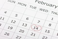 Calendario día de fiesta día del ` s de la tarjeta del día de San Valentín del 14 de febrero Imagenes de archivo