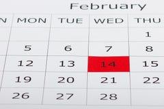 Calendario día de fiesta día del ` s de la tarjeta del día de San Valentín del 14 de febrero Fotos de archivo