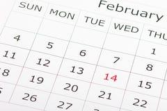 Calendario día de fiesta 14 de febrero Imágenes de archivo libres de regalías