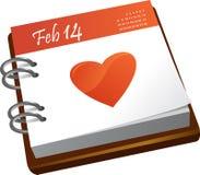 Calendario - día de tarjetas del día de San Valentín Foto de archivo libre de regalías