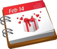 Calendario - día de tarjetas del día de San Valentín Fotos de archivo libres de regalías