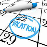 Calendario - día de vacaciones circundado Imágenes de archivo libres de regalías