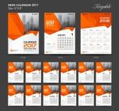 Calendario da scrivania arancio stabilito 2017 modello a 8 pollici di dimensione 6 x di anno illustrazione di stock