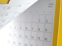 Calendario da scrivania con i giorni e le date nell'aprile 2016 Fotografia Stock