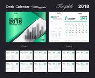 Calendario da scrivania per 2018 anni, modello della stampa di progettazione di vettore Fotografia Stock Libera da Diritti