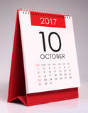 Calendario da scrivania semplice 2017 - ottobre immagini stock