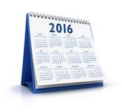 Calendario da tavolino 2016 Immagini Stock Libere da Diritti