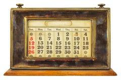 Calendario da tavolino d'annata isolato su bianco Fotografia Stock