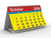 calendario de 2009 años. Octubre ilustración del vector