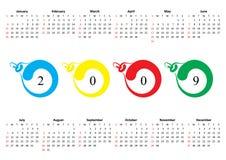 Calendario de 2009. Domingo es primer Foto de archivo libre de regalías