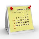 calendario de 2010 años. Octubre Imagen de archivo libre de regalías