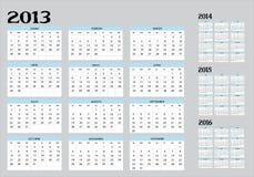 Calendario de 2013 a 2016 Fotos de archivo libres de regalías