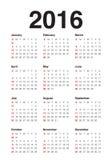 calendario de 2016 años Imágenes de archivo libres de regalías