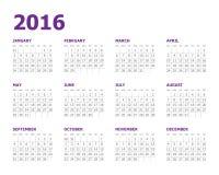calendario de 2016 años Fotografía de archivo libre de regalías