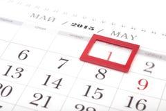 calendario de 2015 años Calendario de mayo Fotografía de archivo