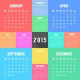 Calendario de 2015 años con diferente coloreado Imagenes de archivo