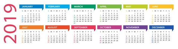 calendario de 2019 años - ejemplo del vector Comienzo de la semana el domingo stock de ilustración