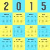 Calendario de 2015 años en los colores de la bandera ucraniana Fotografía de archivo