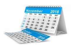 calendario de 2018 años noviembre Ejemplo aislado 3d Imagenes de archivo