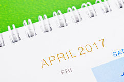 Calendario 2017 de abril Fotos de archivo