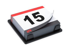 Calendario 15 de abril Imagen de archivo