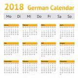 Calendario de 2018 alemanes Foto de archivo libre de regalías