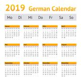 Calendario de 2019 alemanes foto de archivo libre de regalías