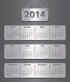 Calendario de 2014 alemanes Imágenes de archivo libres de regalías