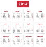 Calendario de 2014 alemanes Imagen de archivo libre de regalías