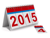 calendario de 2015 años en el backgroung blanco Imagen de archivo libre de regalías