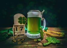 Calendario de bloque para el día del ` s de St Patrick Imagen de archivo libre de regalías