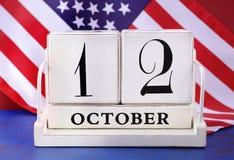 Calendario de Columbus Day October 12 Imagenes de archivo