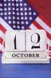 Calendario de Columbus Day October 12 Foto de archivo libre de regalías