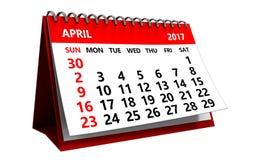 calendario de 3d abril Imágenes de archivo libres de regalías