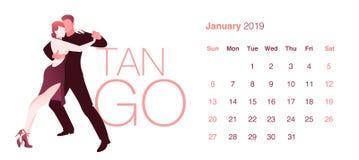 Calendario de 2019 danzas enero Tango elegante del baile de los pares ilustración del vector