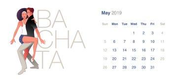 Calendario de 2019 danzas pueda Pares jovenes que bailan Bachata sensual stock de ilustración