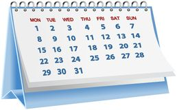 Calendario de escritorio azul aislado en blanco Fotografía de archivo