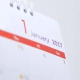 Calendario de escritorio del 1 de enero de 2017 Imagenes de archivo