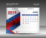 Calendario de escritorio diseño del vector de la plantilla de 2019 años, APRIL Month libre illustration