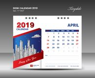 Calendario de escritorio diseño del vector de la plantilla de 2019 años, APRIL Month libre illustration
