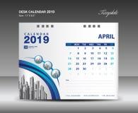 Calendario de escritorio diseño del vector de la plantilla de 2019 años, APRIL Month ilustración del vector