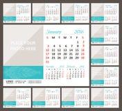 Calendario de escritorio 2016 La semana comienza domingo Fotos de archivo