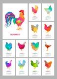 Calendario de escritorio por 2017 años Sistema de 12 meses coloridos de páginas y cubierta Gallo y pollos polivinílicos bajos abs Imagenes de archivo