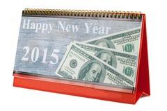 Calendario de escritorio y Feliz Año Nuevo 2015 Imagenes de archivo