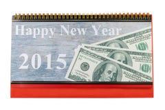 Calendario de escritorio y Feliz Año Nuevo 2015 Fotografía de archivo