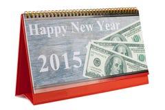 Calendario de escritorio y Feliz Año Nuevo 2015 Imágenes de archivo libres de regalías