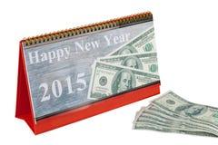 Calendario de escritorio y Feliz Año Nuevo 2015 Fotografía de archivo libre de regalías