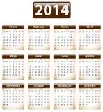 Calendario de 2014 españoles Imágenes de archivo libres de regalías